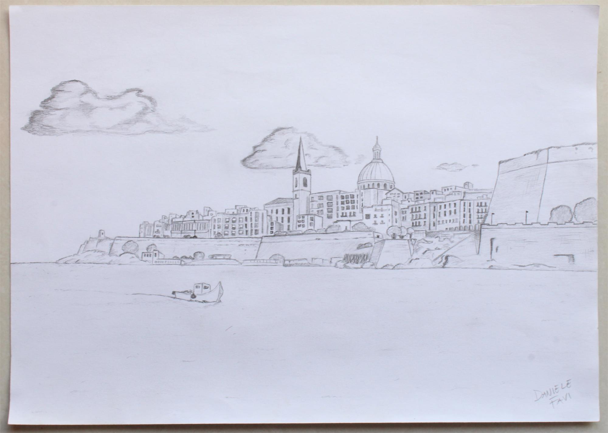 valletta malta hand drawing