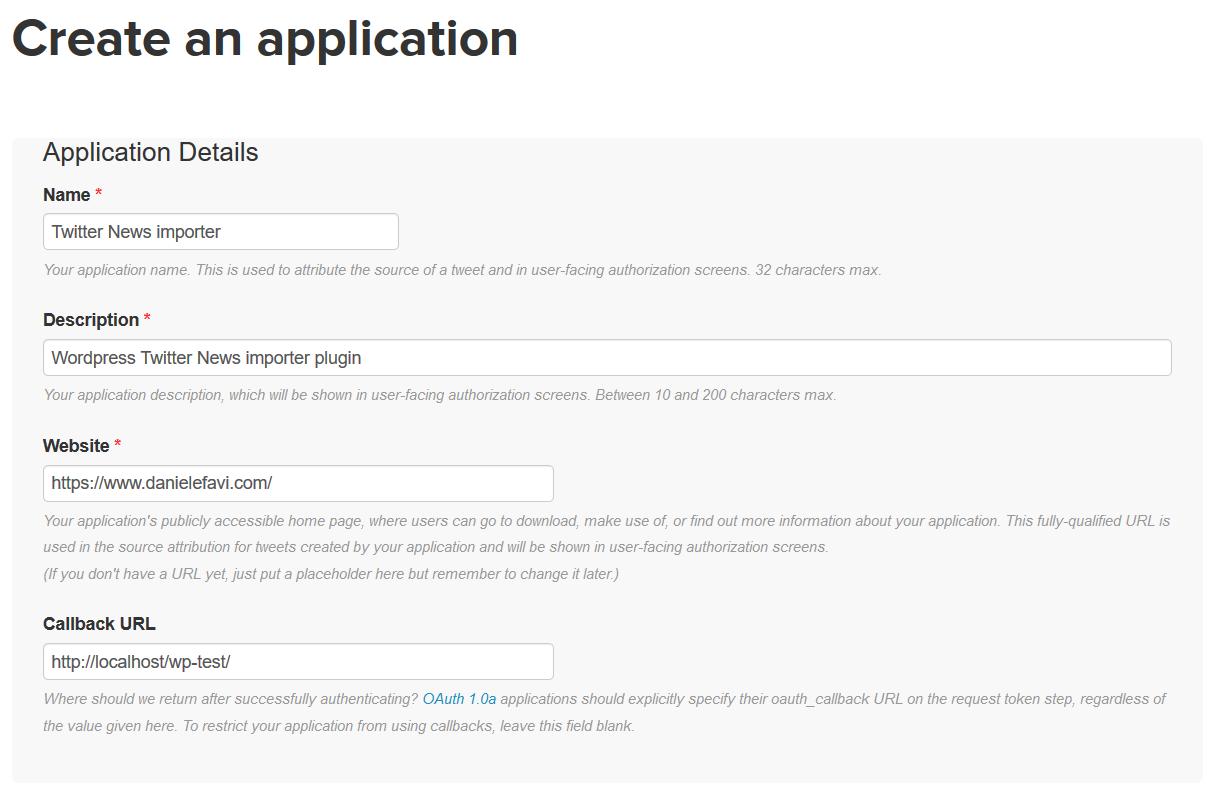 WP Social Post Importer - Twitter create app