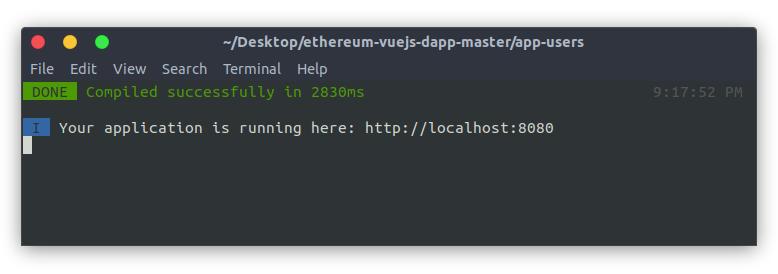 Ethereum VueJS Dapp - Terminal NPM RUN DEV